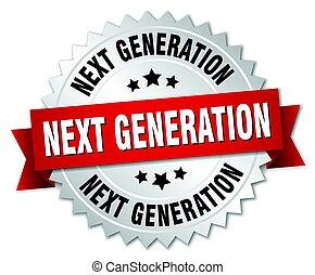 generación, aislado, luego, insignia, redondo, plata