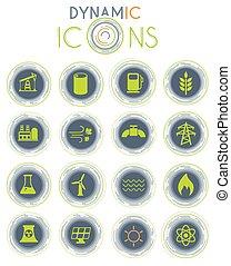 generación de energía, dinámico, iconos