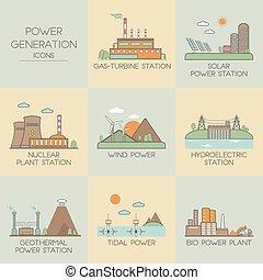 generación de energía, iconos