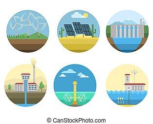 generación, energía, tipos, central eléctrica, iconos, vector, renovable, alternativa, solar, onda, ilustración
