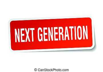 generación, pegatina, cuadrado, blanco, luego