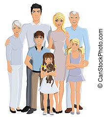 generación, retrato, familia