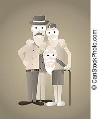 generaciones, imagen, tres, familia , vendimia