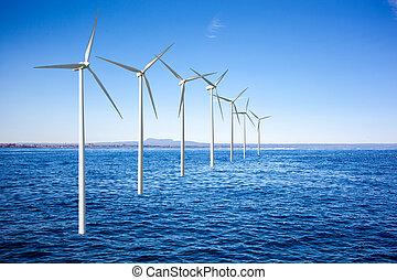 generadores, turbinas, viento, mar