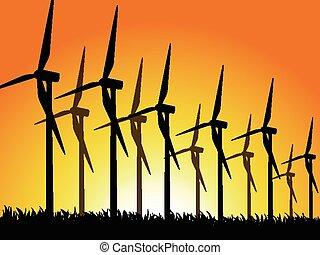 generadores, viento, silhouet