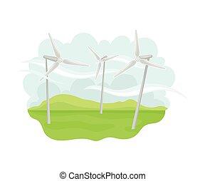 generadores, wind-driven, energía, recurso, campo, producción, natural, mecánico, vector, verde, ilustración