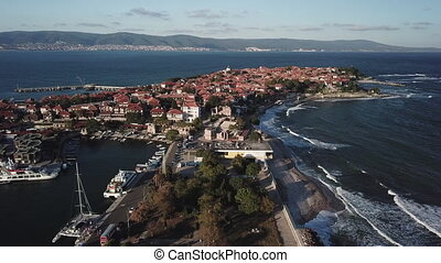 General aerial view of Nessebar, ancient city on the Black...