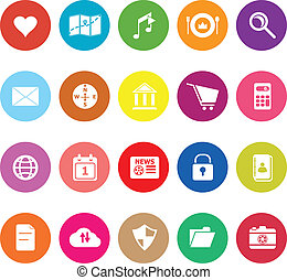 General application flat icons on white background