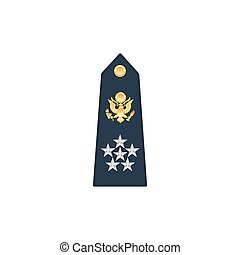 General army military rank with eagle, five stars