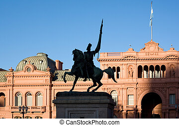 General Belgrano monument in front of Casa Rosada (pink ...