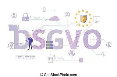 General Data Protection Regulation. GDPR, called DSGVO in German. Concept vector illustration. The protection of personal data. Isolated on white.