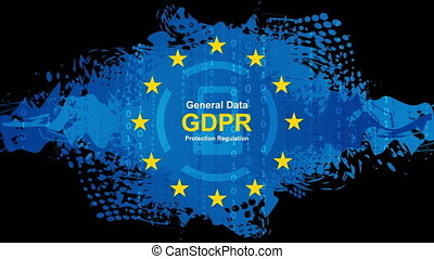 General Data Protection Regulation - GDPR hi-tech motion animated background