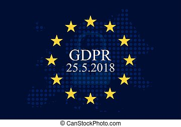 General Data Protection Regulation (GDPR) on european union dotty map