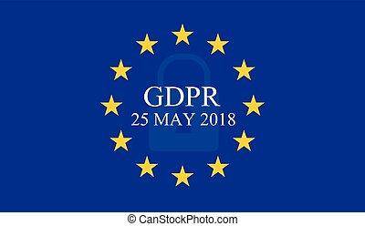 General Data Protection Regulation (GDPR) on european union flag background