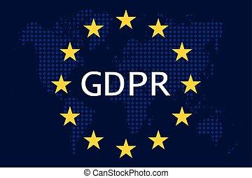 General Data Protection Regulation (GDPR) on european union world map vector