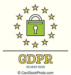 General Data Protection Regulation (GDPR). Padlock with Stars.