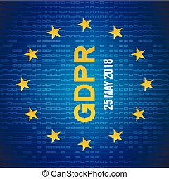 General Data Protection Regulation(GDPR). data 25 may 2018. Security technology background. EU flag.