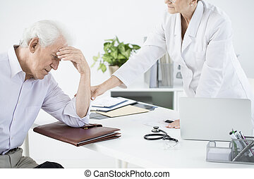 General doctor examining weak outpatient at the health care...