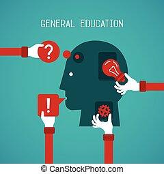 general, educación, y, creatividad, vector, concepto, en, plano, estilo