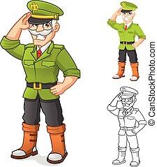 general, ejército, caricatura, carácter