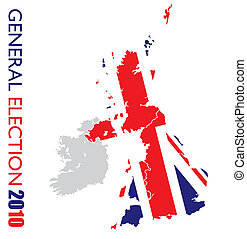 UK election with british flag and map of britian outline