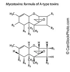 General structural chemical formulas of mycotoxins (A-type), 2d illustration, isolated on white background, vector, eps 8