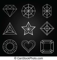 General gem shape icons on dark background