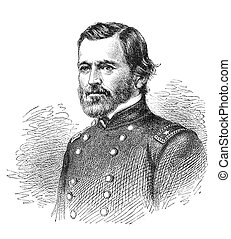 Ulysses S. Grant, a union general in the American Civil War. Later he become President. Illustration from The Leisure Hour magazine june 1864, the image is in public domain.