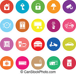 General home stay flat icons on white background