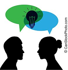 general idea of a man and a woman with a cloud for speech