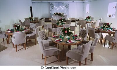 general interior plan of the restaurant with a flower decor and a honeymoon area