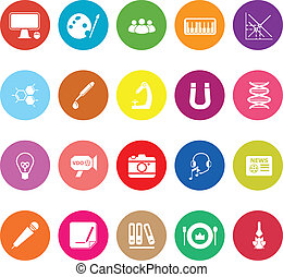 General learning flat icons on white background