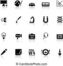General learning icons with reflect on white background