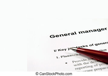 General manager job description - Close up image of general...
