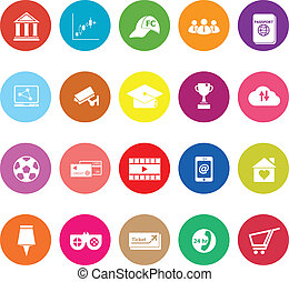 General online flat icons on white background