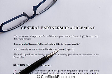 general partnership agreement  on the white paper with pen