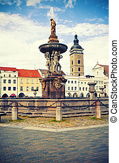 General place with fountain in Ceske Budejovice, Czech republic