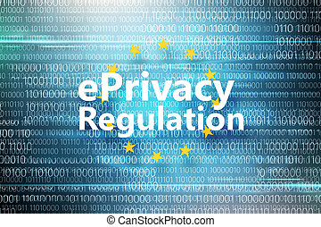 General regulations on data protection. Inscription in circle of yellow stars on background with binary code