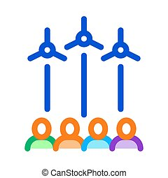 general review wind energy technicians icon vector outline illustration