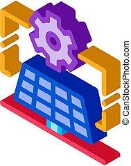 general solar setup isometric icon vector illustration