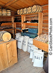General store. - General store in the old west with various...