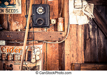 Vintage general store shopkeeper backdrop with phone