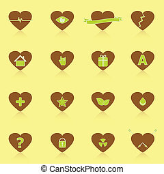 General symbol in heart shape icons with reflect