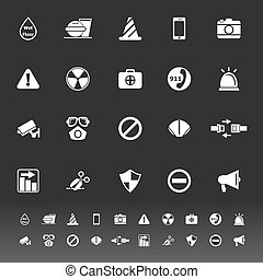 General useful icons on gray background