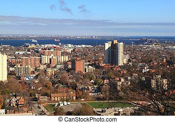 General view East part of Hamilton, Ontario, Canada. -...