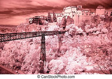 General view of Cuenca town in the morning. Castilla-La ...
