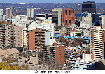 General view of Downtown Hamilton, Ontario, Canada.