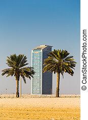 General view of modern buildings in Sharjah