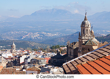 General view of old andalusian city with church