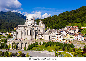 General view of Re village in Italian Alps in summer